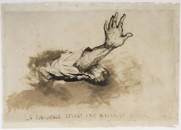 """Victor Hugo (1802-1885). """"La Conscience devant une mauvaise action"""". Plume et lavis d'encre brune sur papier vélin. Paris, maiso"""