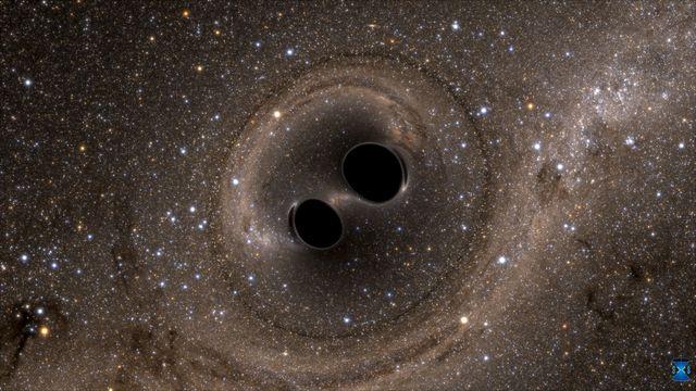 La collision de deux trous noirs trous détecté pour la première fois par le LIGO le 11/02/16. Simulation par ordinateur