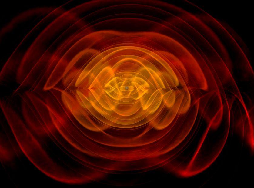 Simulation de la fusion de deux trous noirs.