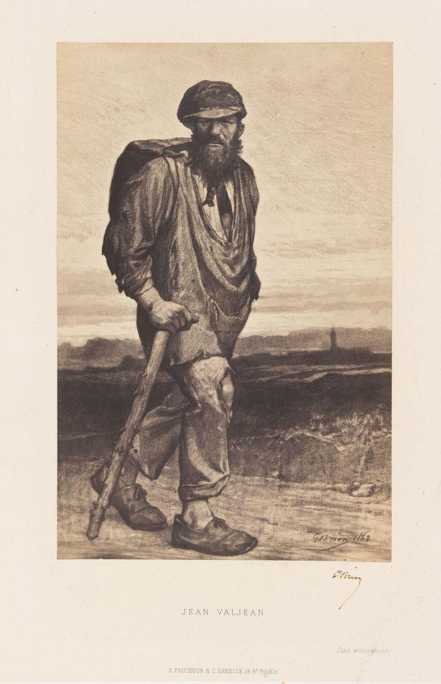"""Brion. Jean Valjean, illustration pour """"Les Misérables"""". Photographie d'après un dessin de Brion, 1862. Paris, Maison de Victor"""