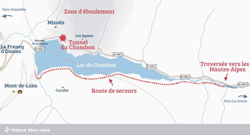 Plan de situation de la route de secours du Chambon.