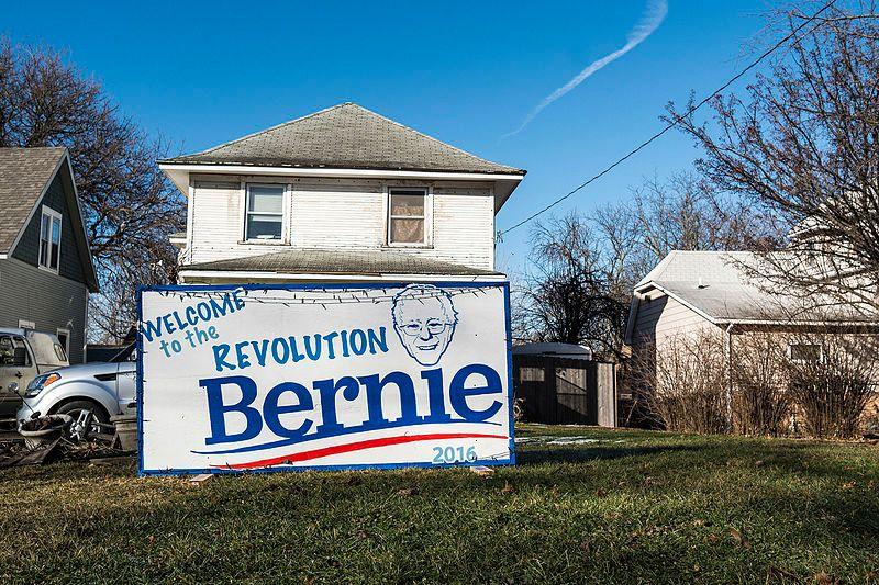 Un supporter de B. Sanders près de Des Moines, 1er fév. 2016 avant le caucus