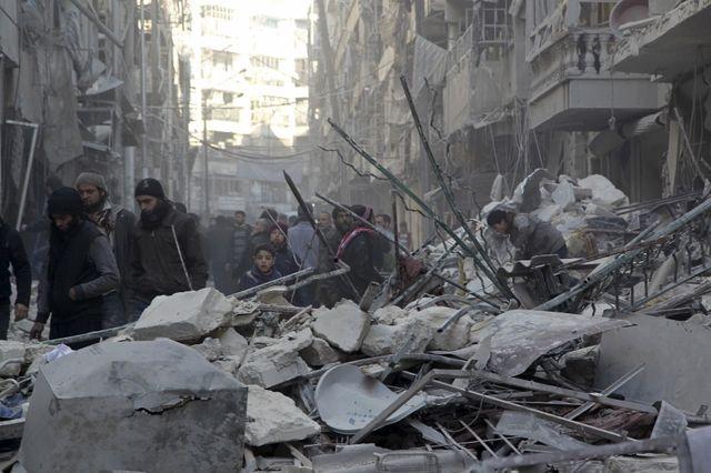 Alep après les bombardements contre les rebels