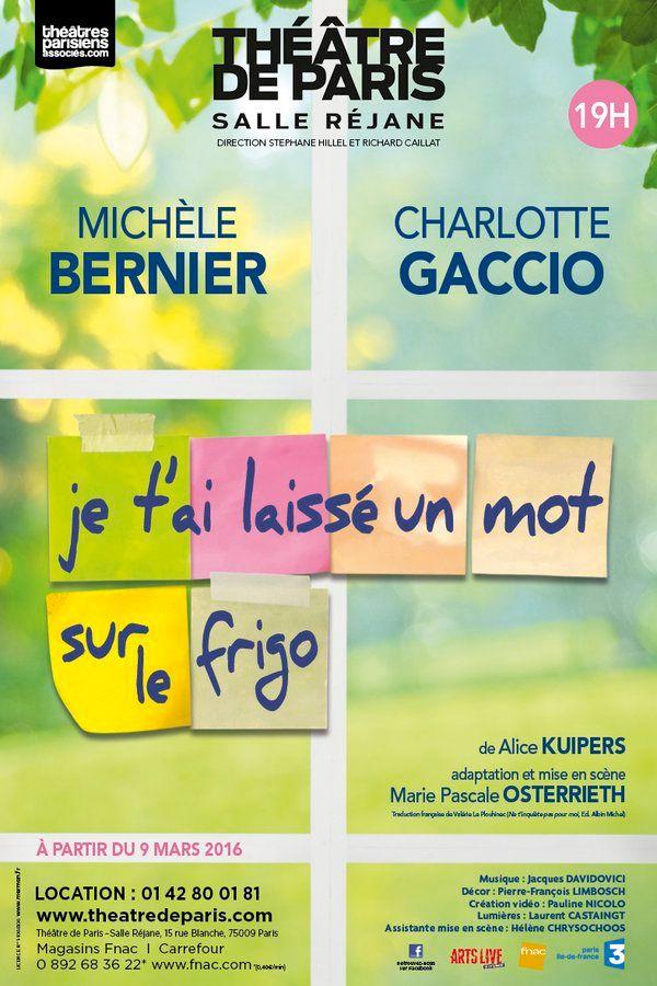 """Affiche """"J'ai laissé un mot sur le frigo"""" avec Michèle Bernier et Charlotte Gaccio"""