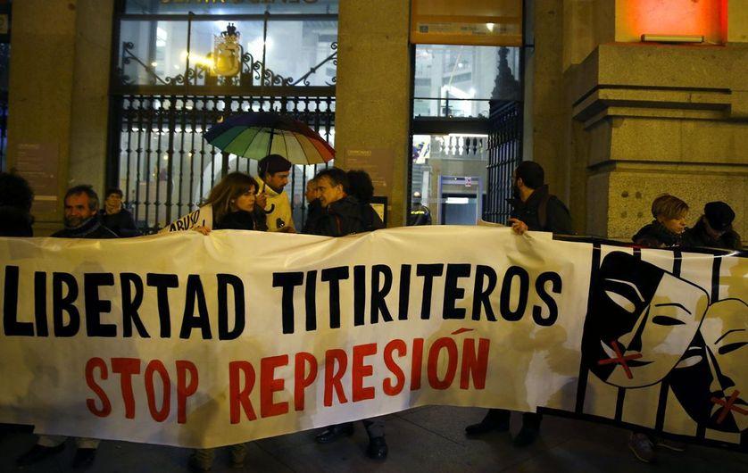 Manifestation de soutien aux marionnettistes, le 10 février à Madrid