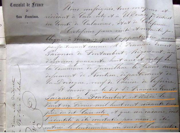 Certificat décès Ernest de Fontaubert