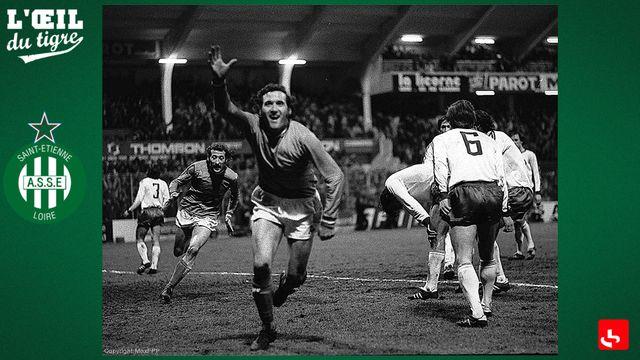 Hervé Revelli après son but lors du Quart de finale de coupe d'Europe des Clubs champions le 17/03/1976