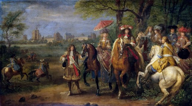 Louis XIV et Marie-Thérèse avec leur Cour en 1669, devant le château de Vincennes. Adam Frans van der Meulen (1632-1690)