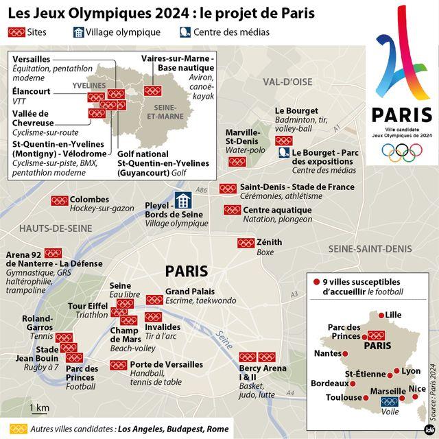 Les sites qui accueilleront les compétitions si Paris est désignée pour les JO 2024