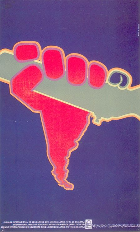 Poster de l'OSPAAAL pour la Journée de solidarité avec l'Amérique Latine - 1970