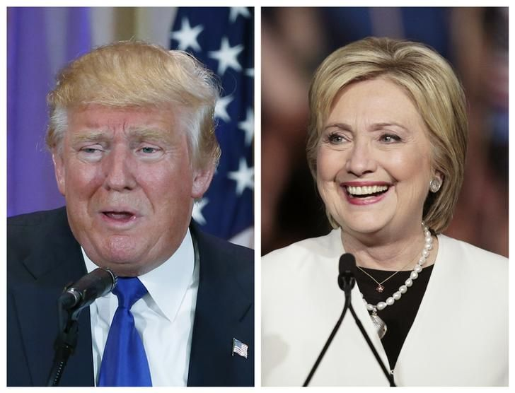 Donald Trump (g) et Hillary Clinton (d).