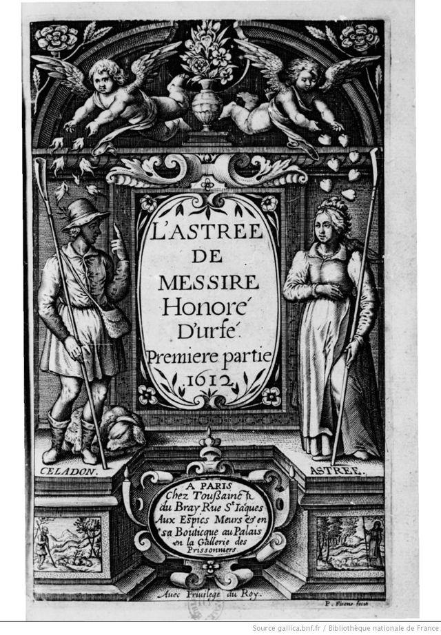 Frontispice du premier volume de L'Astrée, roman d'Honoré d'Urfé - Edition Le Bray, Paris - 1612