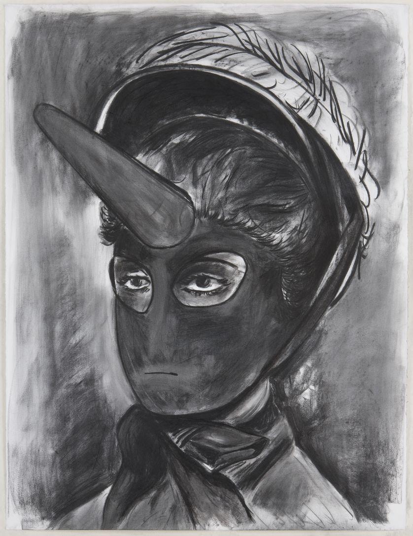La fille de l'air, 2010, fusain sur papier, 140x107cm