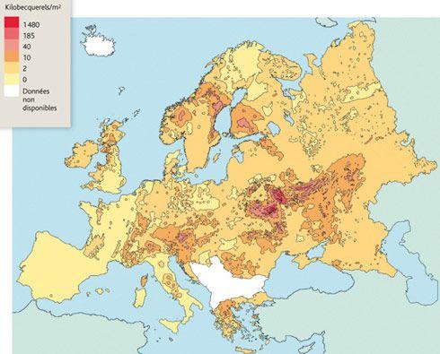 Carte retombées radioactives Tchernobyl