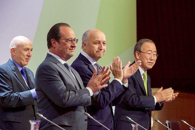 L Fabius F Hollande B Ki moon
