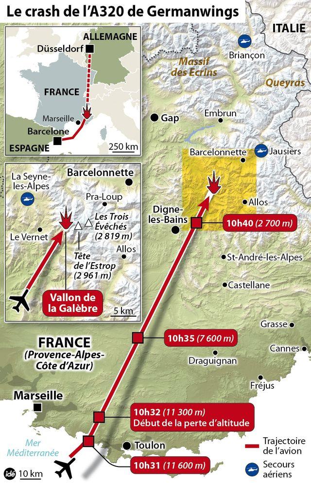 La trajectoire de vol de l'A320 de la Germanwings