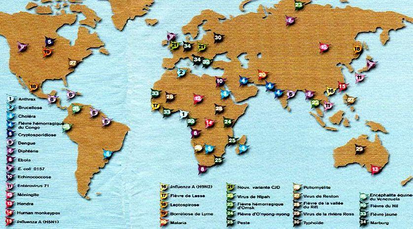 Carte des maladies émergentes , OMS