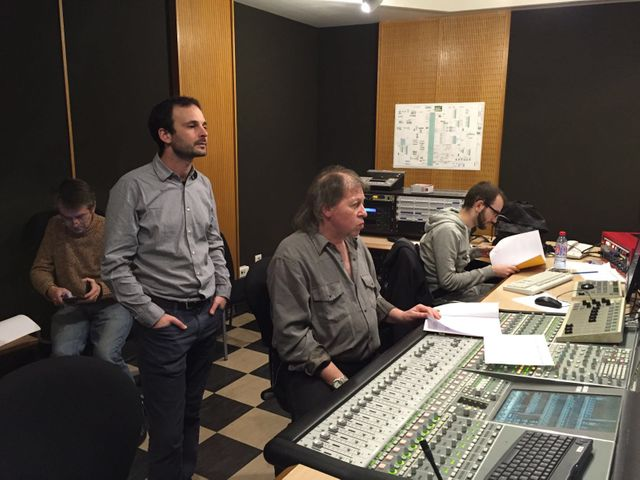 Philippe Alkemade, Benjamin Abitan et l'équipe technique sur la fiction Marylin Monroe