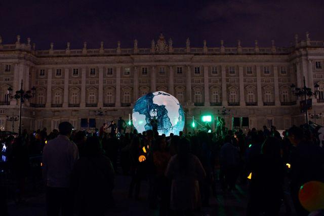 Lumières étéintes à Madrid pour le WWF Earth Hour, 28 mars 2015