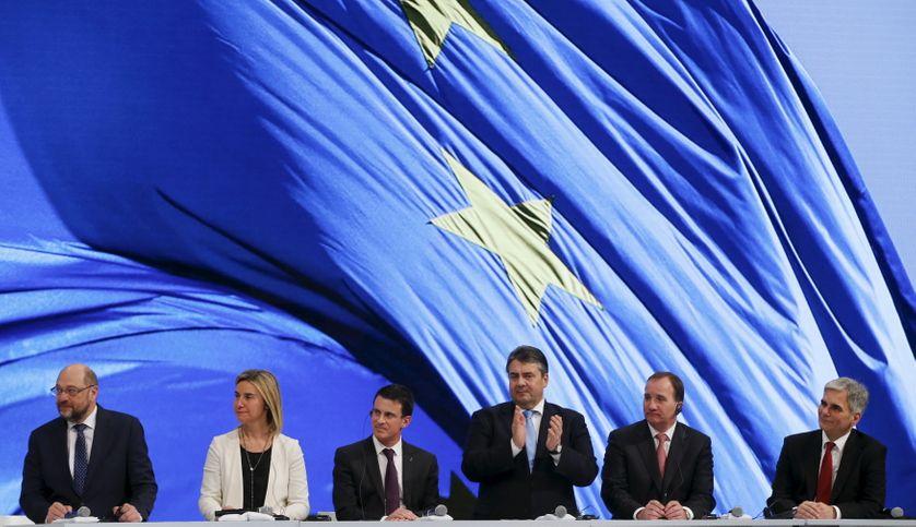 Schulz, Mogherini, Valls, Gabriel (SPD), Lofven, Faymann, Berlin 12 déc. 2015