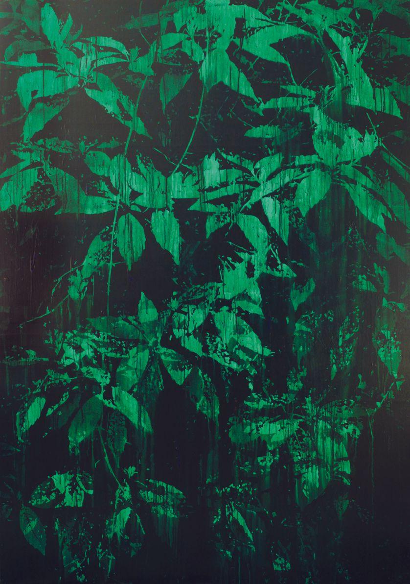 La forêt d'émeraude, acrylique sur panneau de bois, 2014, 175 x 122 cm