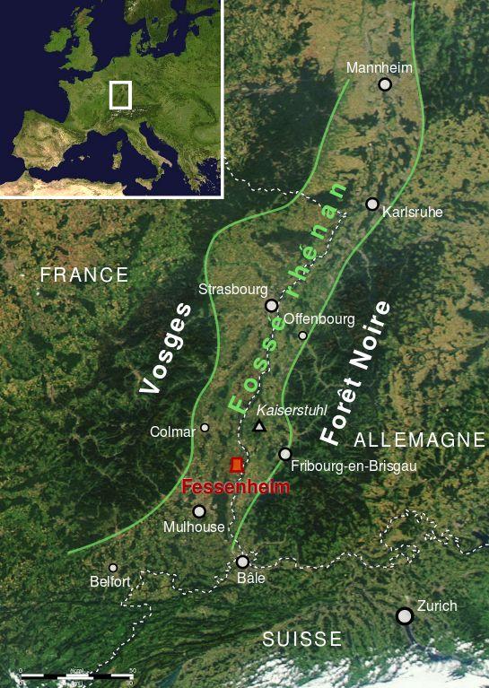 Carte emplacement centrale de Fessenheim