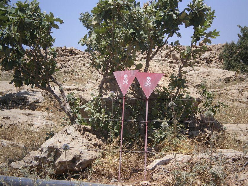 Mines situées sur une zone de pâturage, à côté d'Erbil