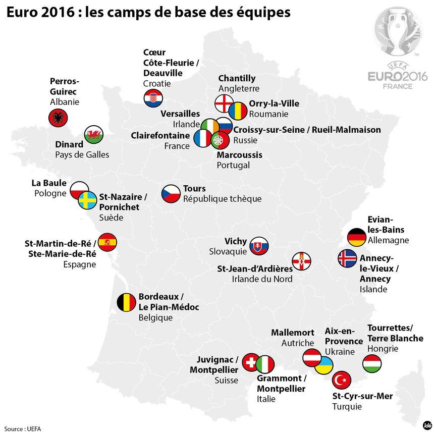 Les camps de base de l'Euro 2016