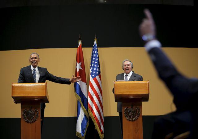 La conférence de presse d'Obama et de Castro