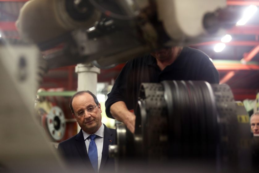François Hollande visite l'usine Michelin à La Doux 18 Avril 2014