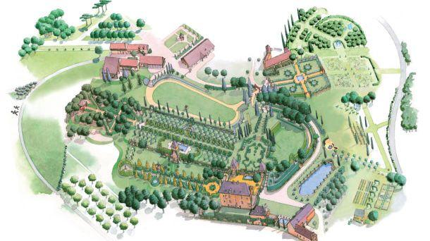 Plan des jardins du Manoir D'Eyrignac