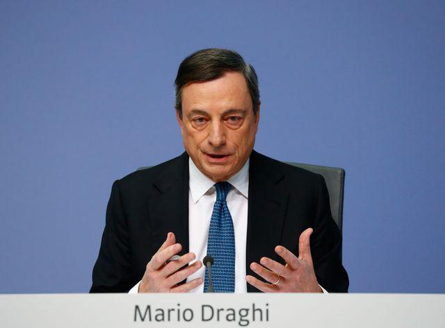 Mario Draghi, le président de la BCE lors d'une conférence de presse à Francfort