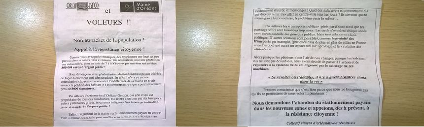 Le tract apparait le jour-même de l'extension du stationnement payant à Orléans.