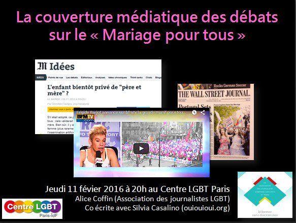"""Affiche conférence-débat  « Les médias, l'homophobie, et les associations LGBTI  : le cas exemplaire du mariage pour tous"""""""