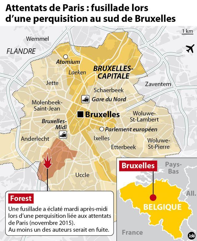 Fusillade lors d'une perquisition à Bruxelles