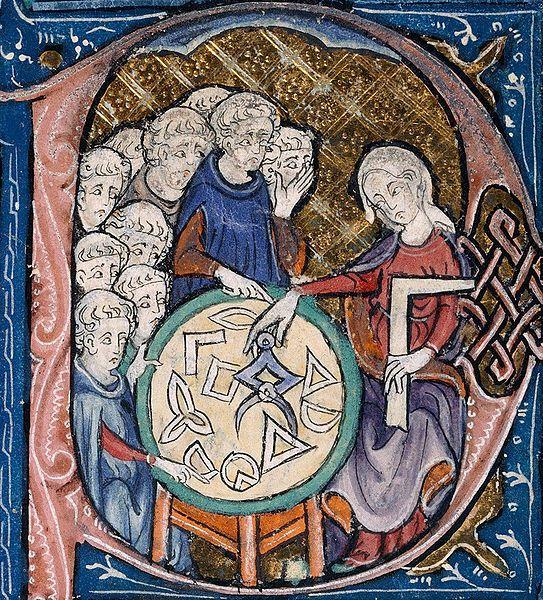 Détail d'une enluminure du XIVe siècle, contrepoinçon d'une lettre capitale P