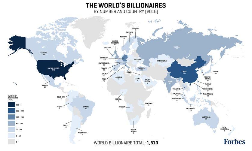 Le nombre de milliardaires par pays