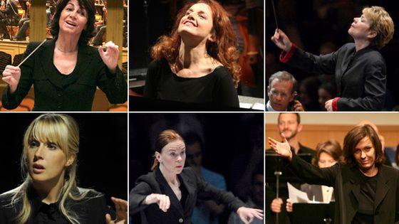 De gauche à droite, Claire Gibault, Emmanuelle Haïm, Marin Alsop (en haut), puis Sofi Jeannin, Susanna Malkki et Laurence Equilbey (en bas).