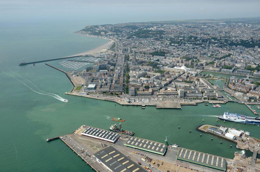 Vue aérienne du Havre – périmètre triangle d'or sur cette photo