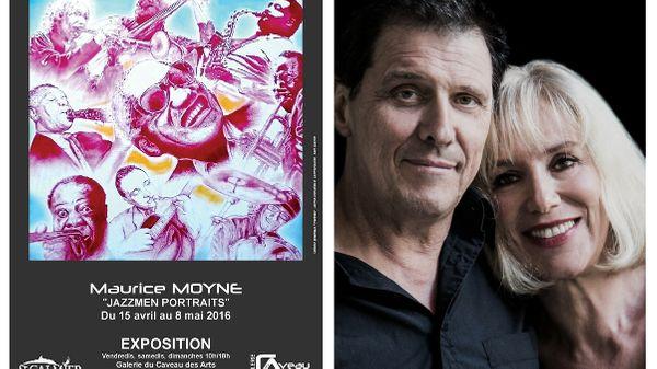 """Jazz Bonus : Philippe Petrucciani & Nathalie Blanc au vernissage de l'exposition """"Jazzmen portraits"""" de Maurice Moyne"""