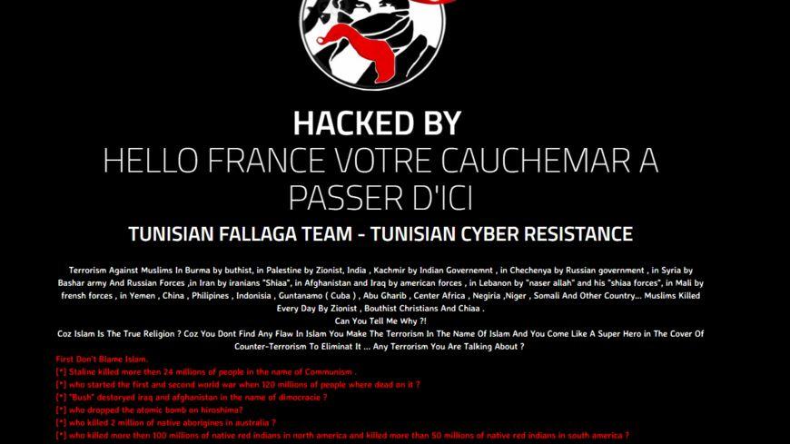 Le message envoyé par le groupe tunisien Fallaga Team.