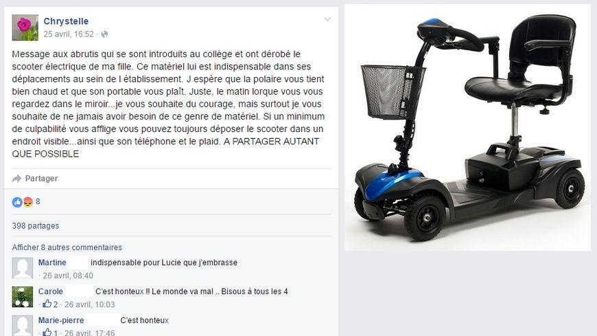 Le message de la maman posté sur Facebook et le scooter volé.
