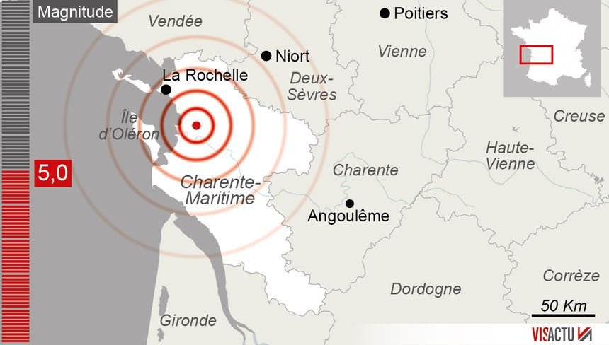 L'épicentre du séisme se trouve à quelques kilomètres de Rochefort