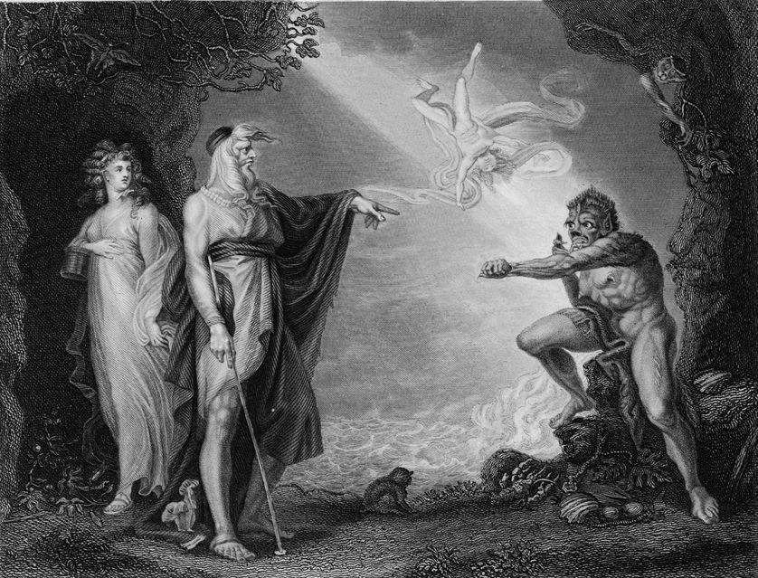 La Tempête de William Shakespeare avec Prospero et Caliban.