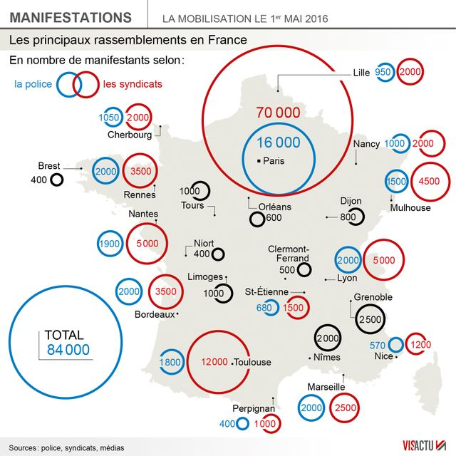 ▶︎▶︎▶︎INFOGRAPHIE : Manifestations du 1er mai en France, faible mobilisation