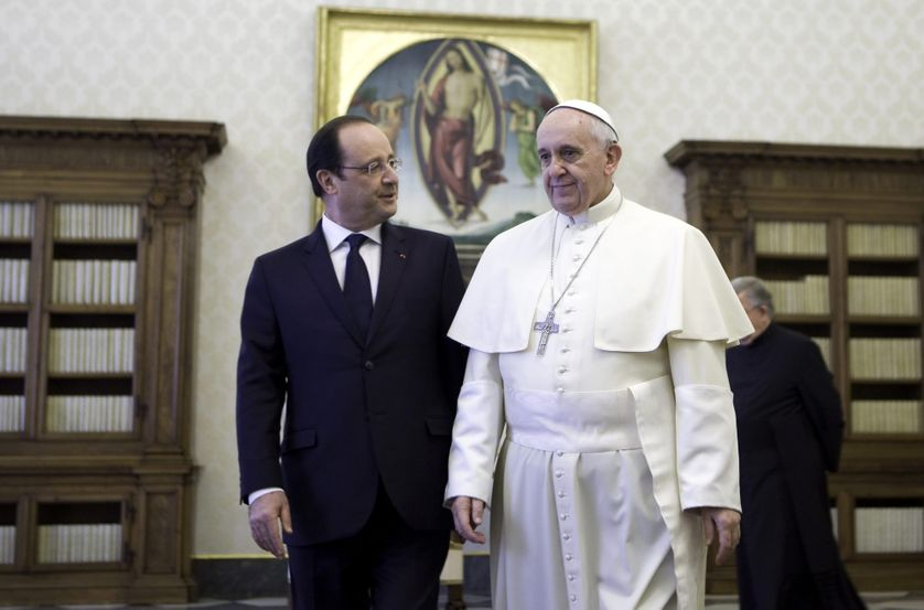 Vatican, Rome: France's President Francois Hollande meets Pope Francis during a
