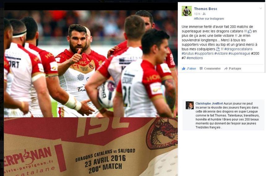 Le facebook de Thomas Bosc et le témoignage du Directeur Général des Dragons