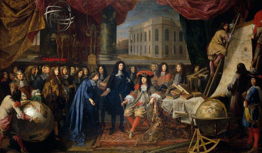 Colbert présente à Louis XIV les membres de l'Académie royale des sciences
