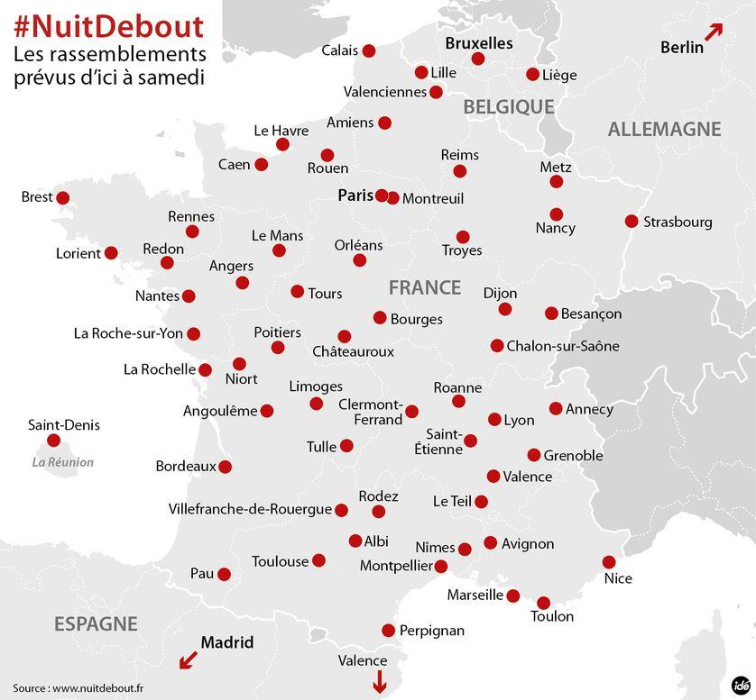 Les #NuitDebout prévues d'ici samedi 9 avril