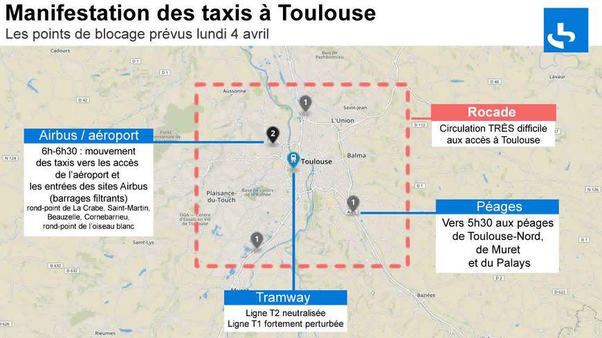 Manif taxis: les points de blocages à Toulouse ce lundi matin